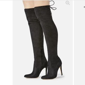 Just Fab black suede heeled boot